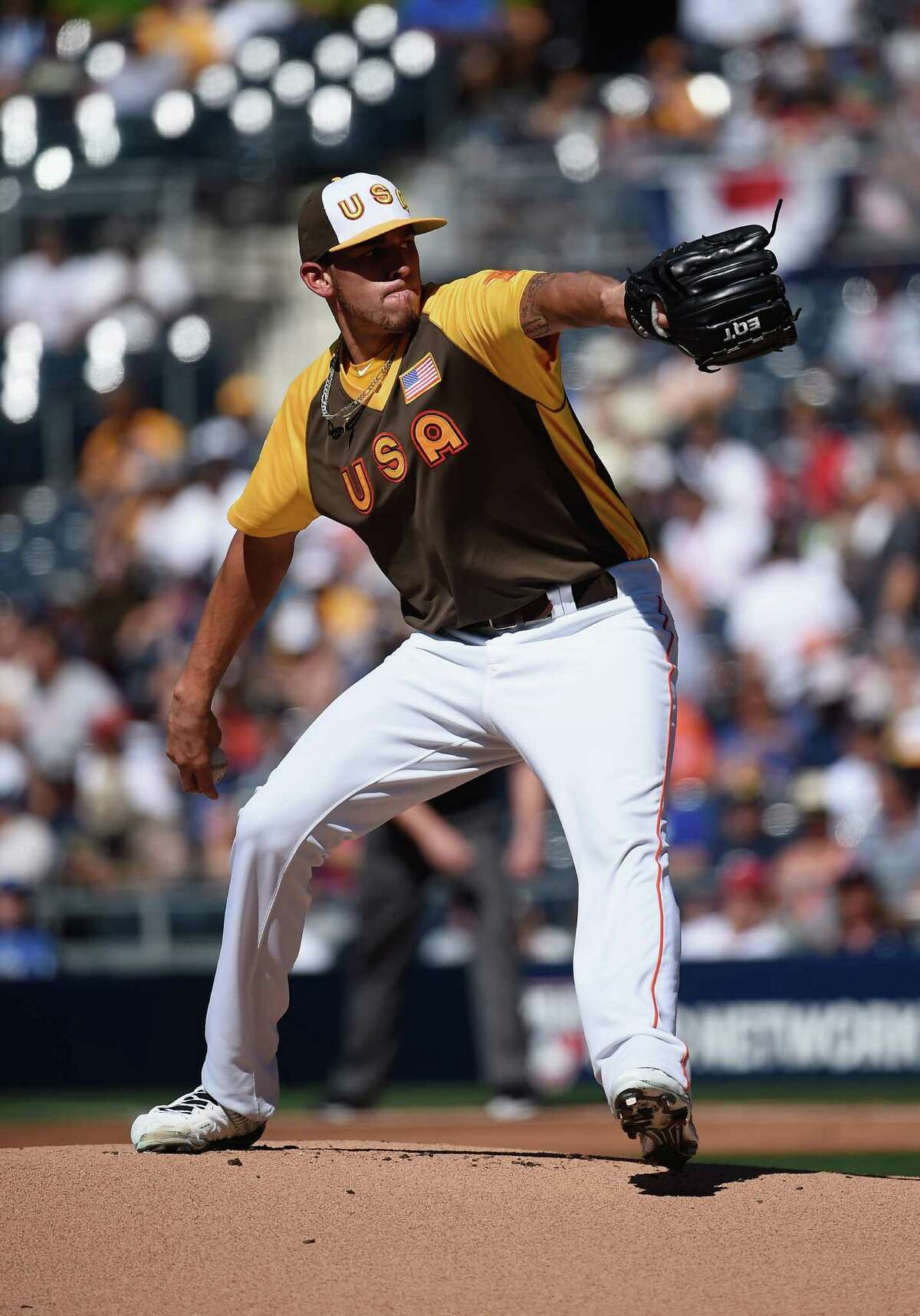SAN DIEGO, CA - JULY 10: Joe Musgrove of the U.S. Team pitches during the SiriusXM All-Star Futures Game at PETCO Park on July 10, 2016 in San Diego, California.