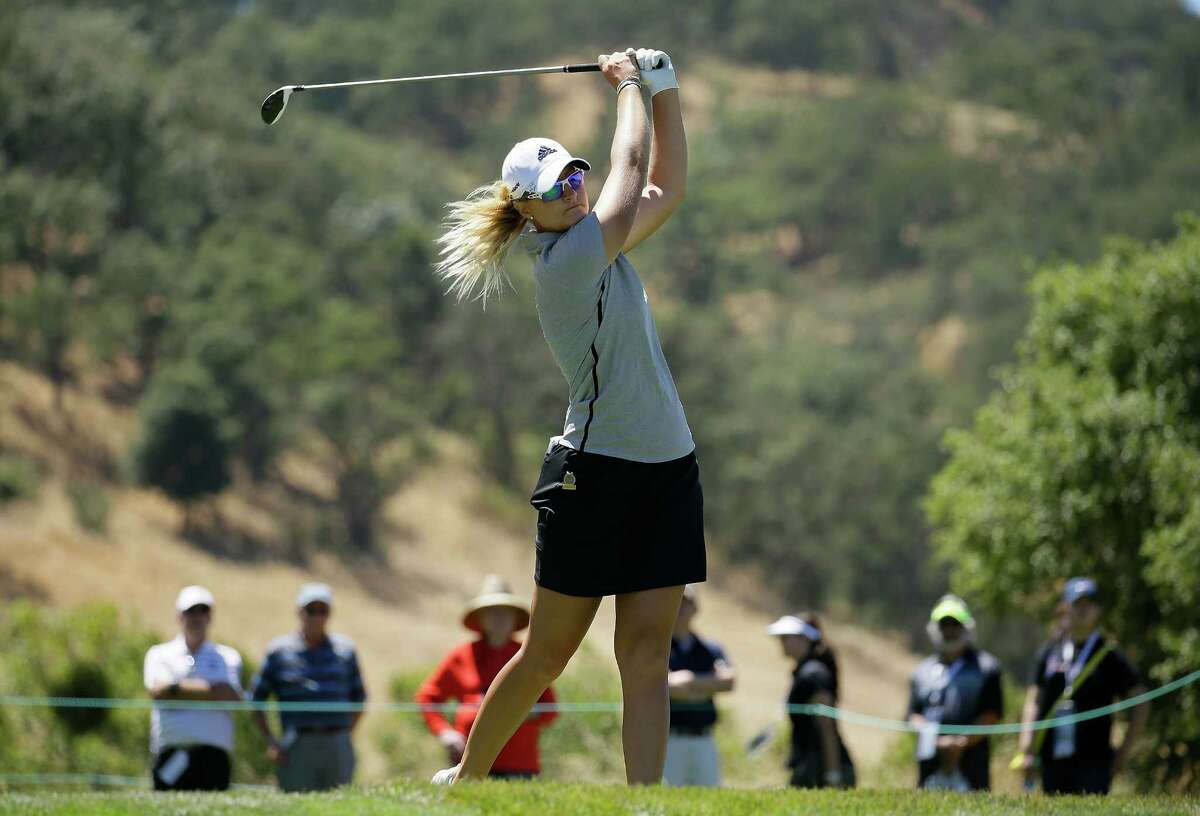 Anna Nordqvist, of Sweden, follows her drive from the 18th tee during the final round of the U.S. Women's Open golf tournament at CordeValle, Sunday, July 10, 2016, in San Martin, Calif.