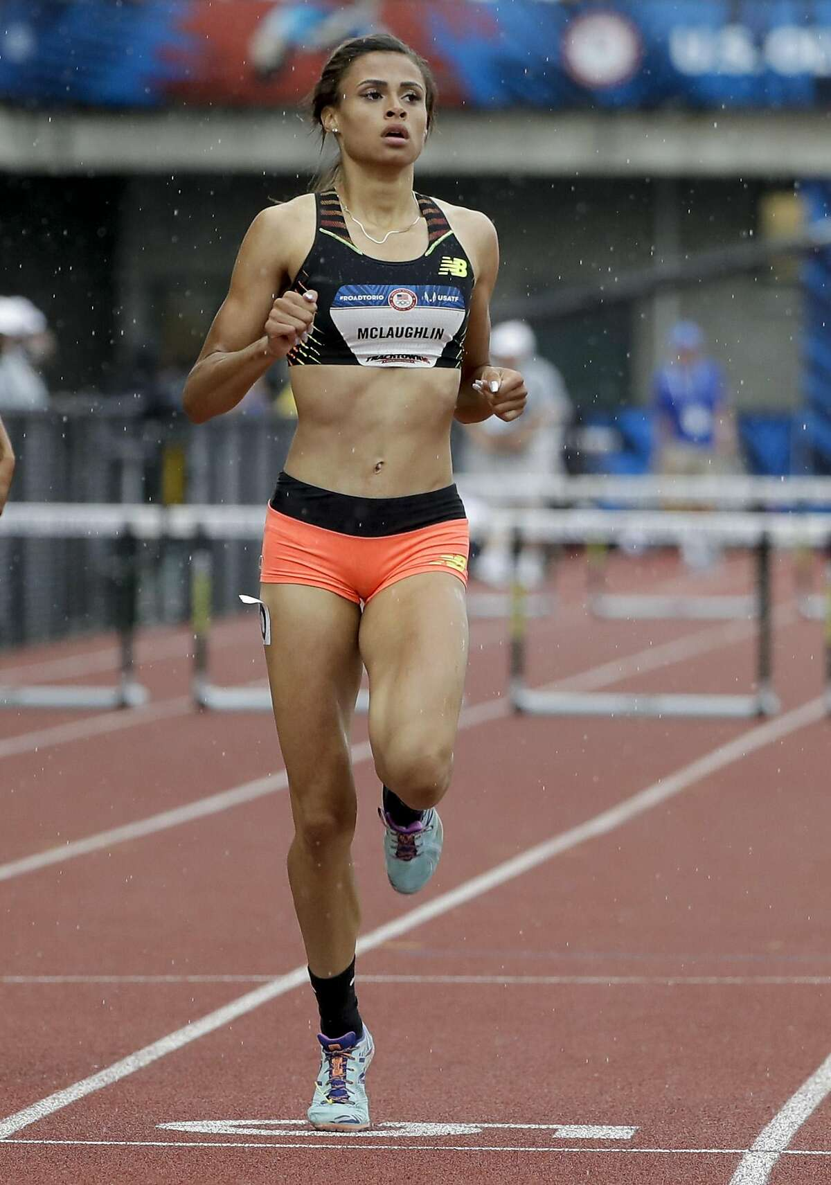 Sydney McLaughlin wins her heat during the women�s 400-meter hurdles at the U.S. Olympic Track and Field Trials, Thursday, July 7, 2016, in Eugene Ore. (AP Photo/Marcio Jose Sanchez)