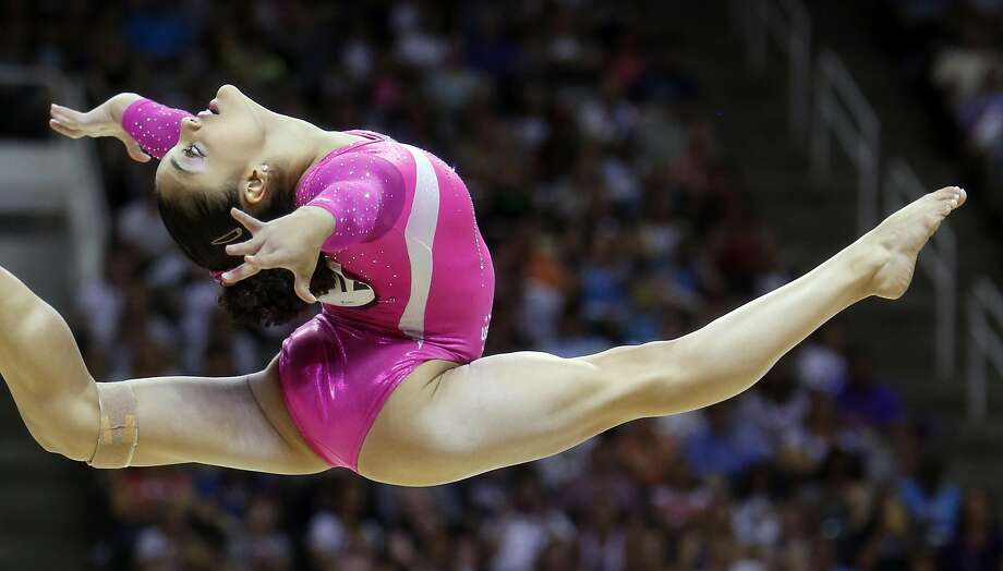 Laurie Hernandez performs her floor routine during Day 2 of 2016 U.S. Olympic Trials for Women's Gymnastics at SAP Center in San Jose, Calif., on Sunday, July 10, 2016. Photo: Scott Strazzante, The Chronicle