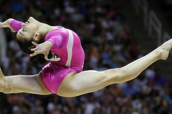 Laurie Hernandez performs her floor routine during Day 2 of 2016 U.S. Olympic Trials for Women's Gymnastics at SAP Center in San Jose, Calif., on Sunday, July 10, 2016.