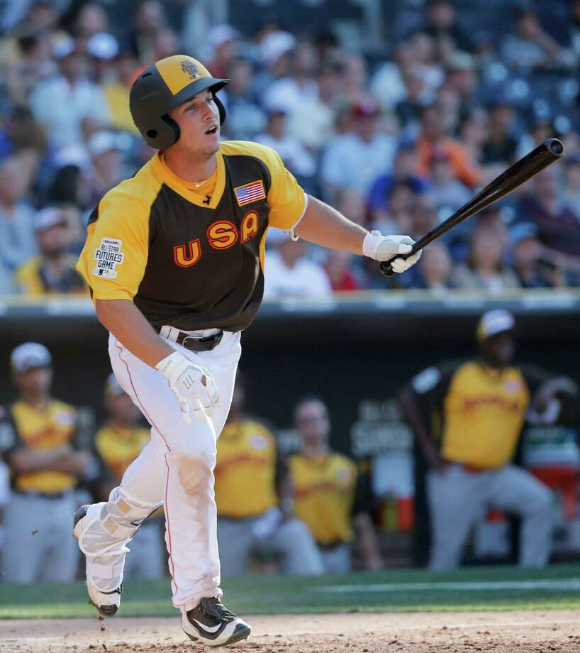 U.S. Team's Alex Bregman, of the Houston Astros, hits during the seventh inning of the All-Star Futures baseball game, Sunday, July 10, 2016, in San Diego. (AP Photo/Lenny Ignelzi) Photo: Lenny Ignelzi, Associated Press / AP