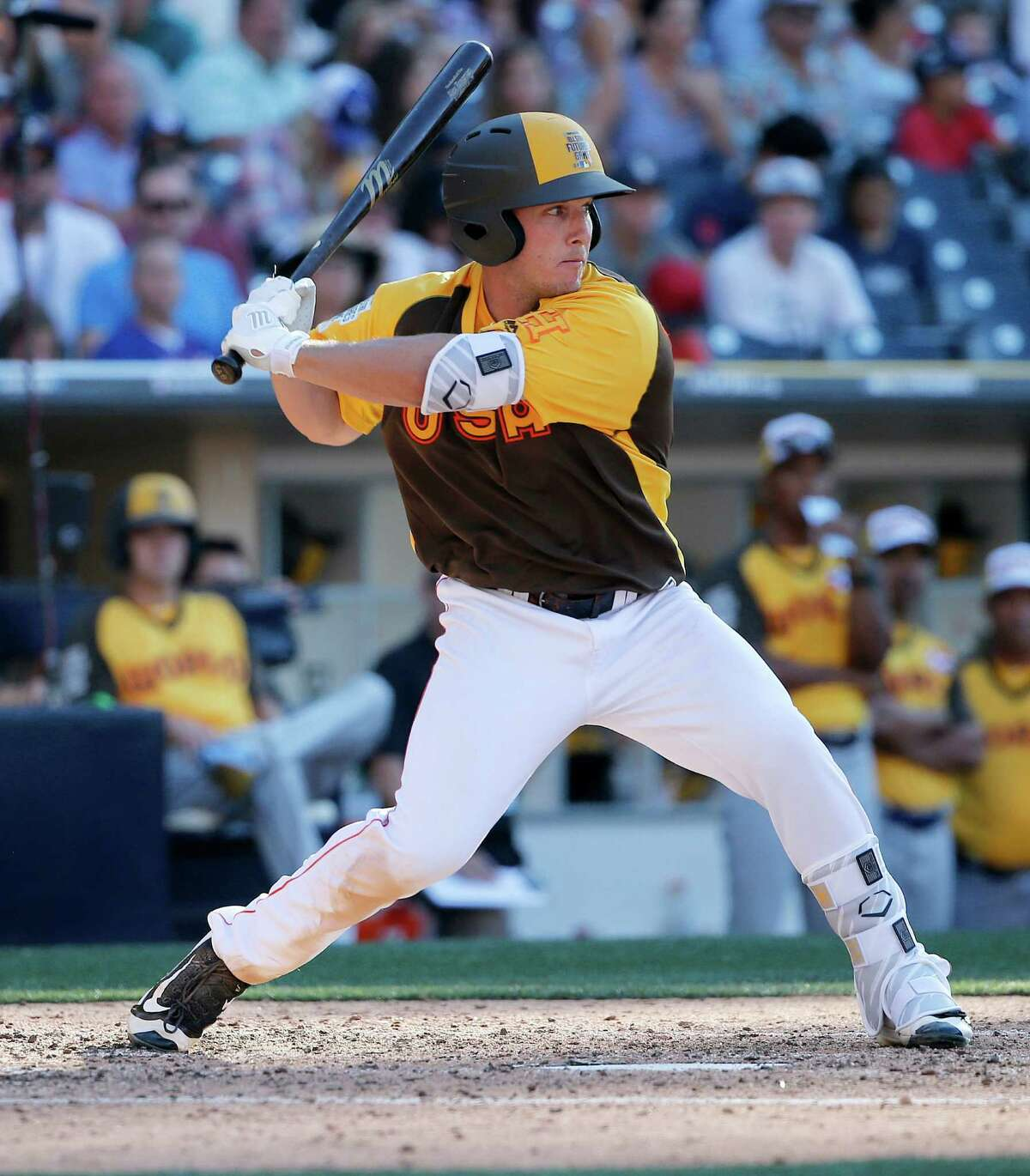 U.S. Team's Alex Bregman, of the Houston Astros, hits during the seventh inning of the All-Star Futures baseball game, Sunday, July 10, 2016, in San Diego. (AP Photo/Lenny Ignelzi)