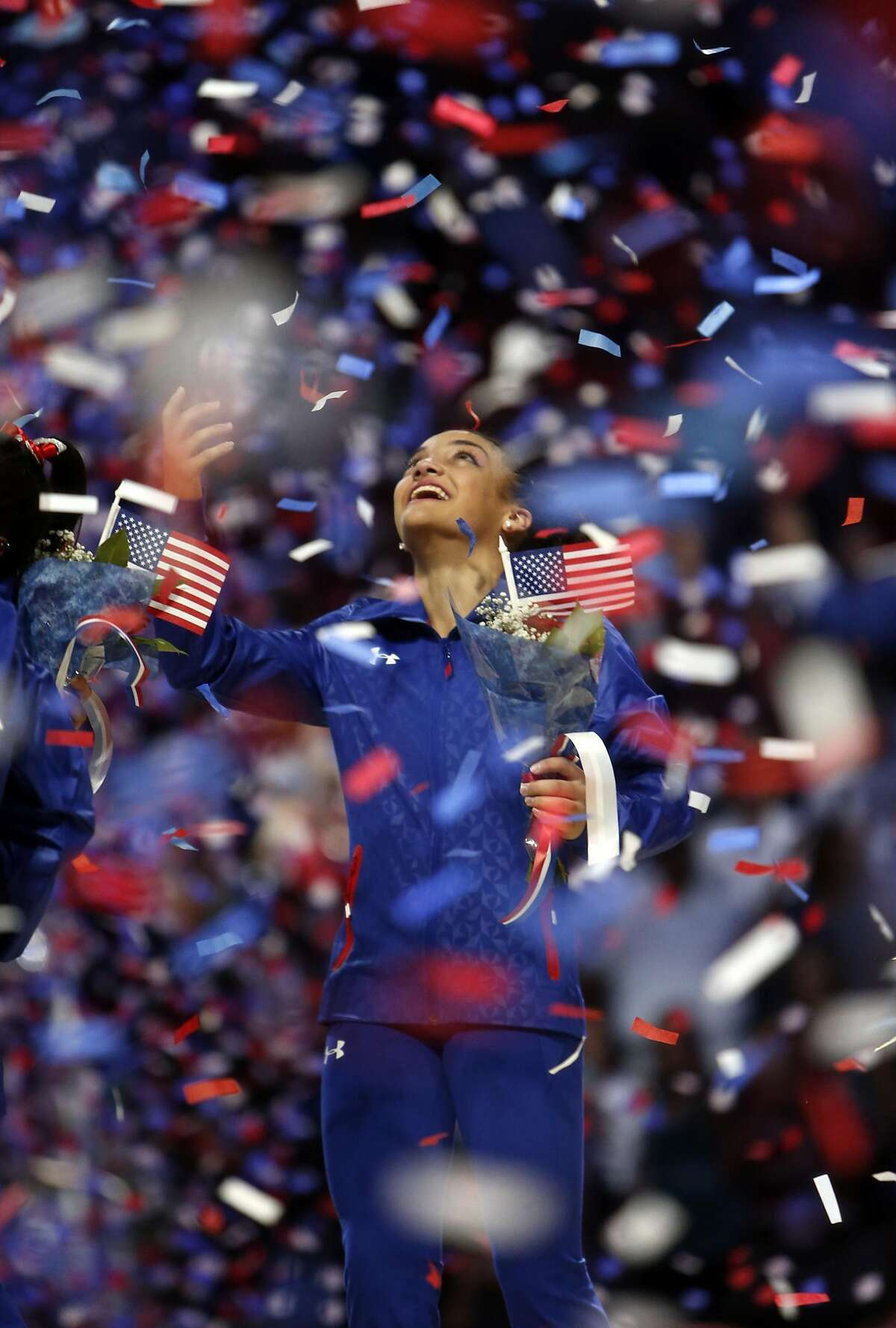 Laurie Hernandez celebrates making the 2016 U.S Olympic team after Day 2 of 2016 U.S. Olympic Trials for Women's Gymnastics at SAP Center in San Jose, Calif., on Sunday, July 10, 2016.