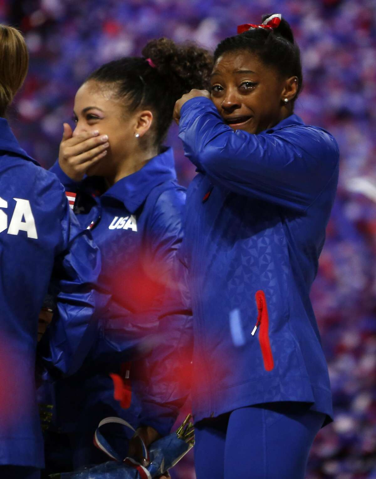 Simone Biles and Laurie Hernandez are overcome with emotion after making the 2016 U.S Olympic team on Day 2 of 2016 U.S. Olympic Trials for Women's Gymnastics at SAP Center in San Jose, Calif., on Sunday, July 10, 2016.