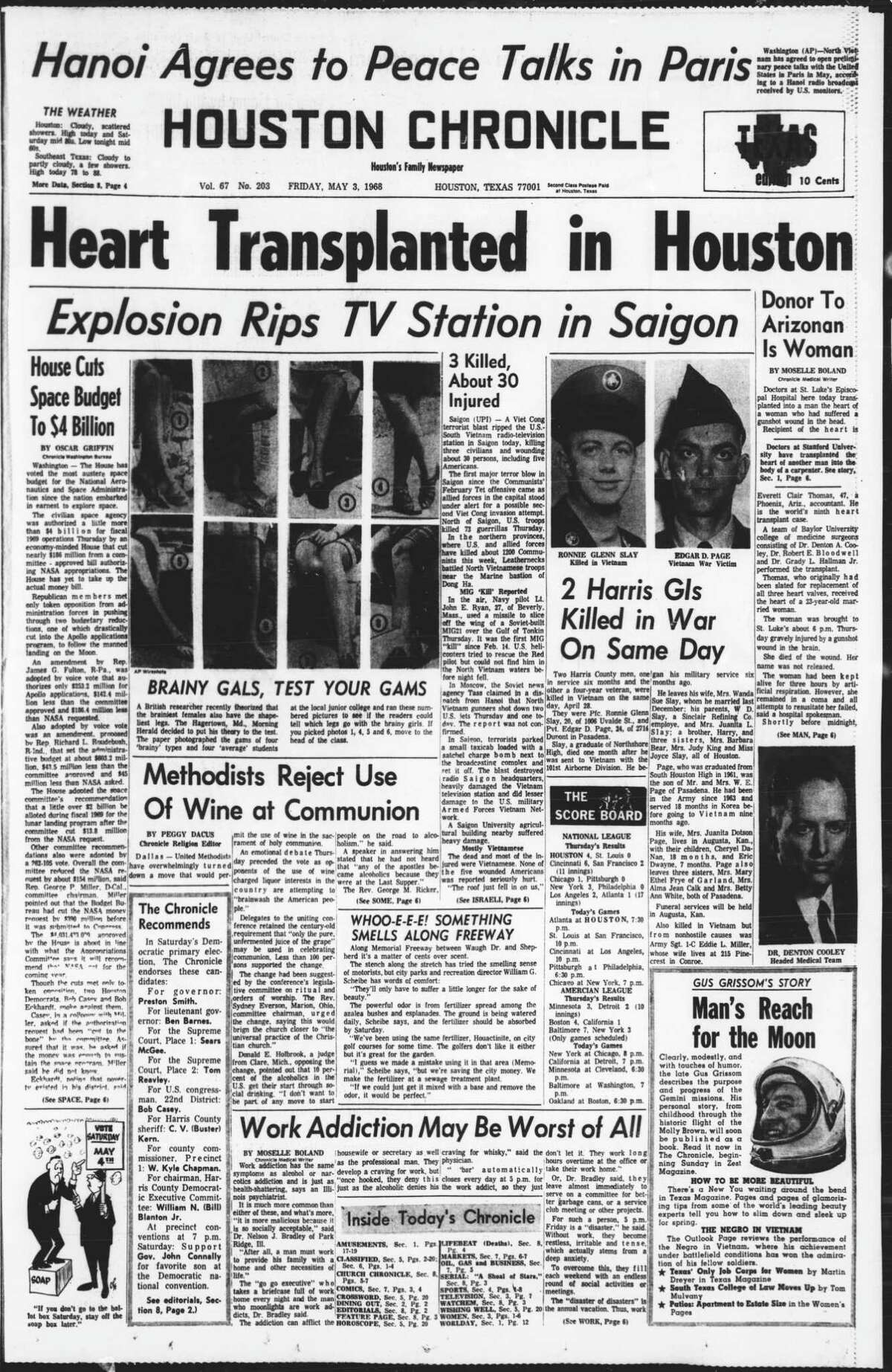 Houston Chronicle front pagem May 3, 1968 -- HEART TRANSPLANTED IN HOUSTON. In its May 3, 1968, edition, the Chronicle told the story of heart transplant by Dr. Denton Cooley, the first in which the patient survived more than a few weeks.