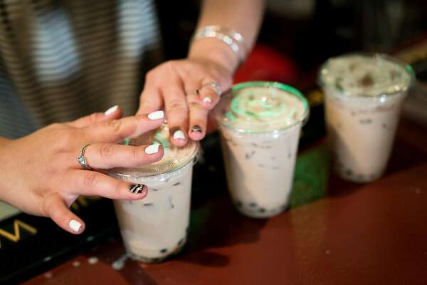 Sophia Chen makes boba for customers at the Taiwanese night market in Sunnyvale, Calif. on Sunday, July 10, 2016. The weekly market features a food trucks and local vendors.