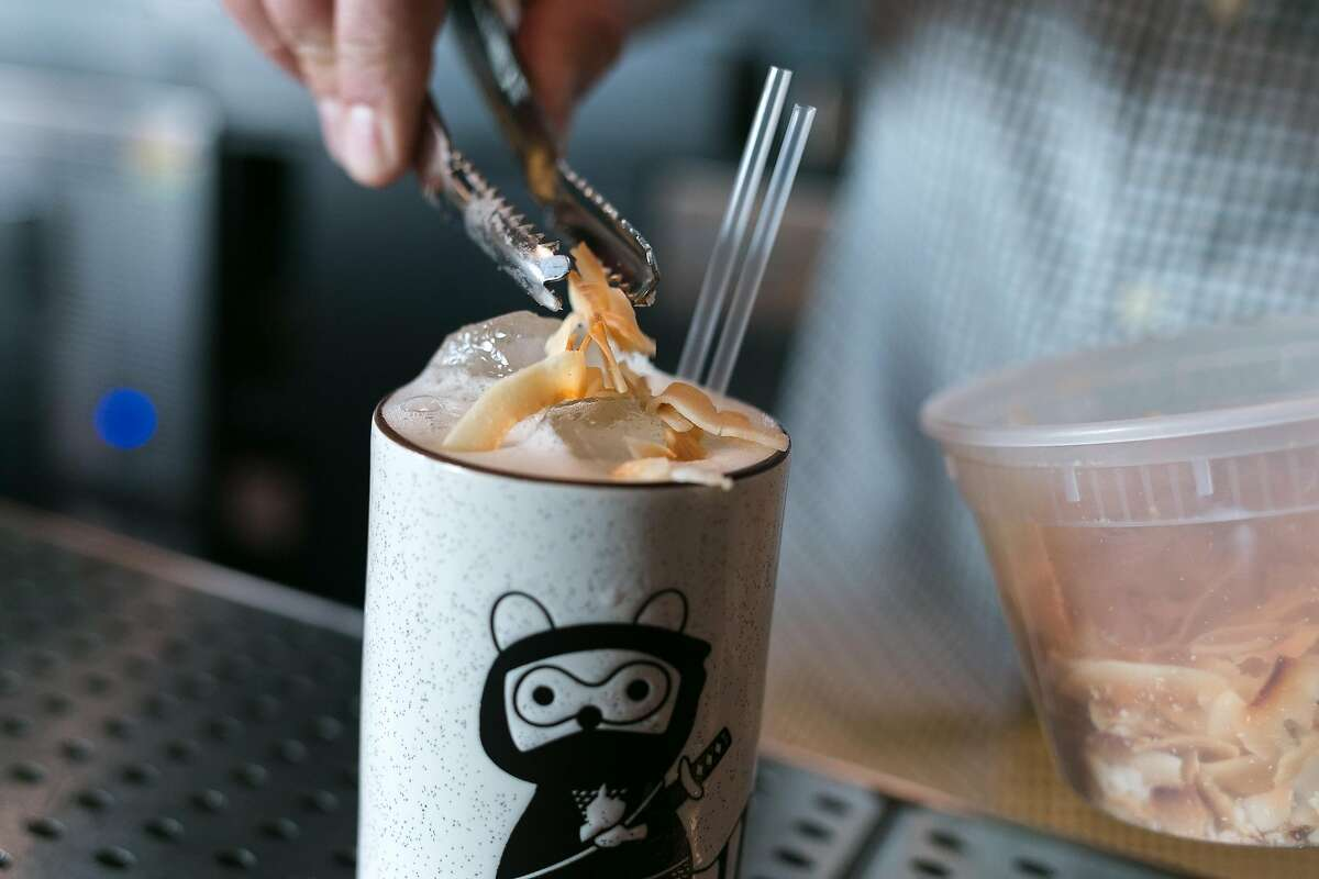 Jacques Bezuidehout tops the 9 Deaths of a Ninja with toasted coconut chips at Wildhawk in S.F.