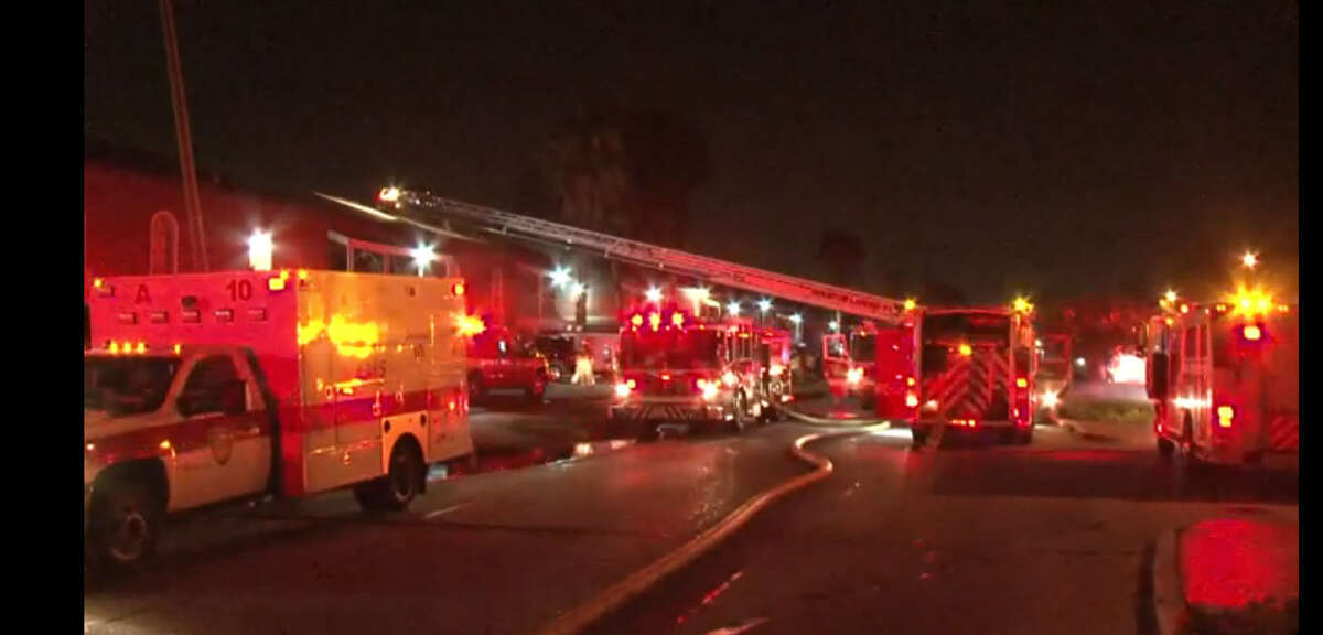 A fire broke out about 2 a.m. Monday, July 11, 2016, at the Parkgreen on Gessner apartments in the 7400 block of S. Gessner in southwest Houston. (Metro Video)