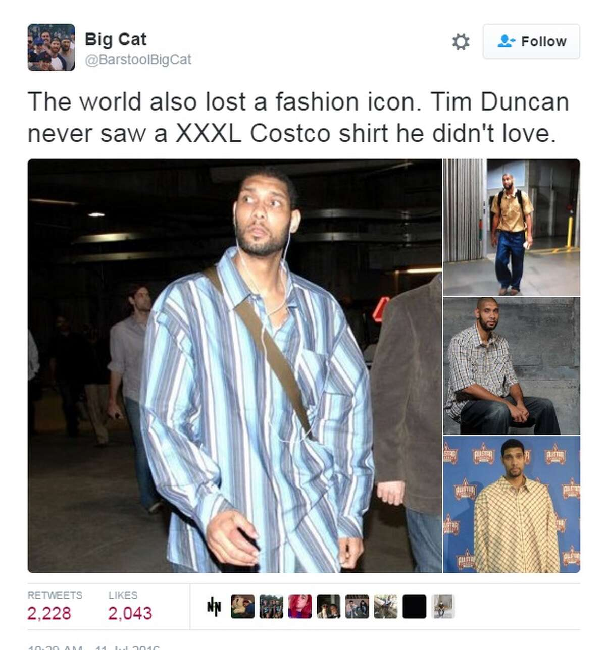 """""""The world also lost a fashion icon. Tim Duncan never saw a XXXL Costco shirt he didn't love,"""" @BarstoolBigCat."""