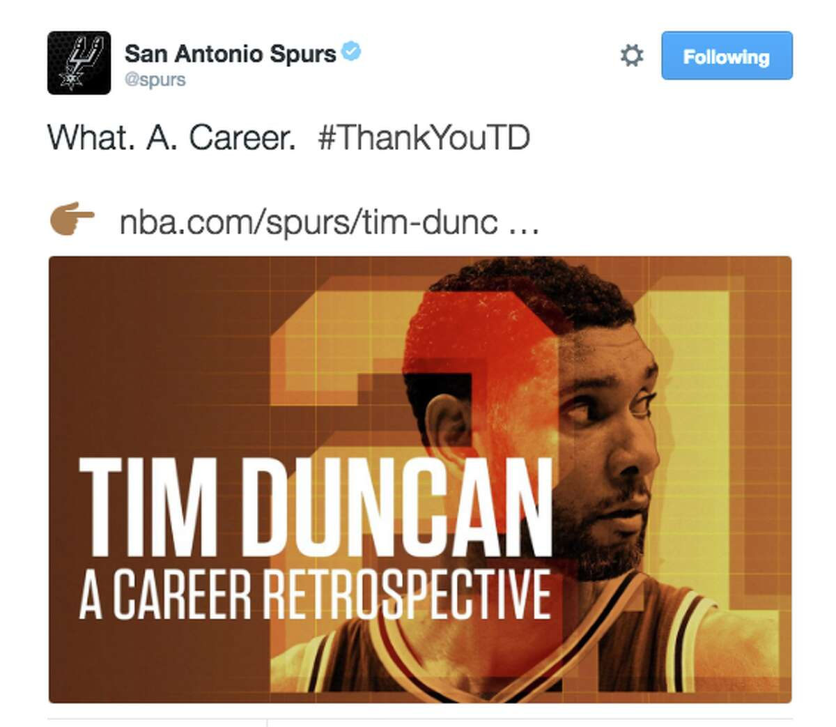 Reactions to Tim Duncan's retirement