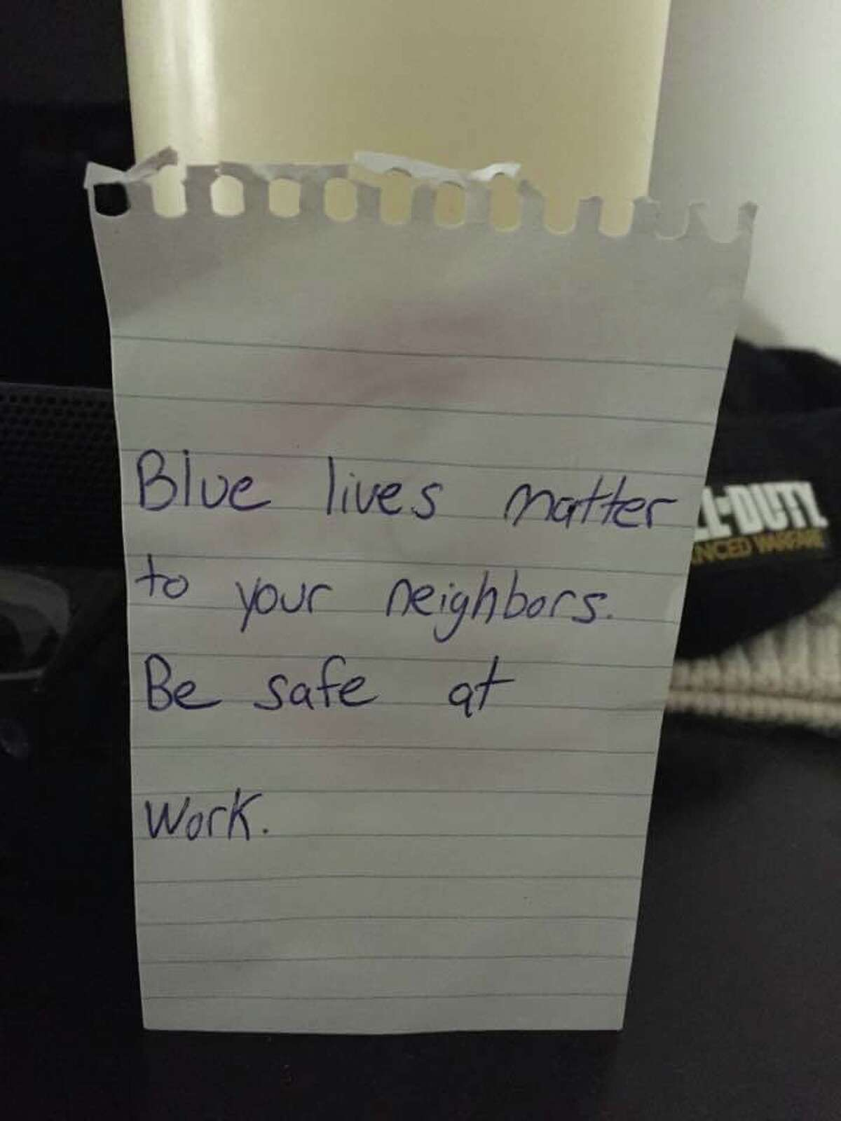 A thank you note was left on an Orange police cruiser.