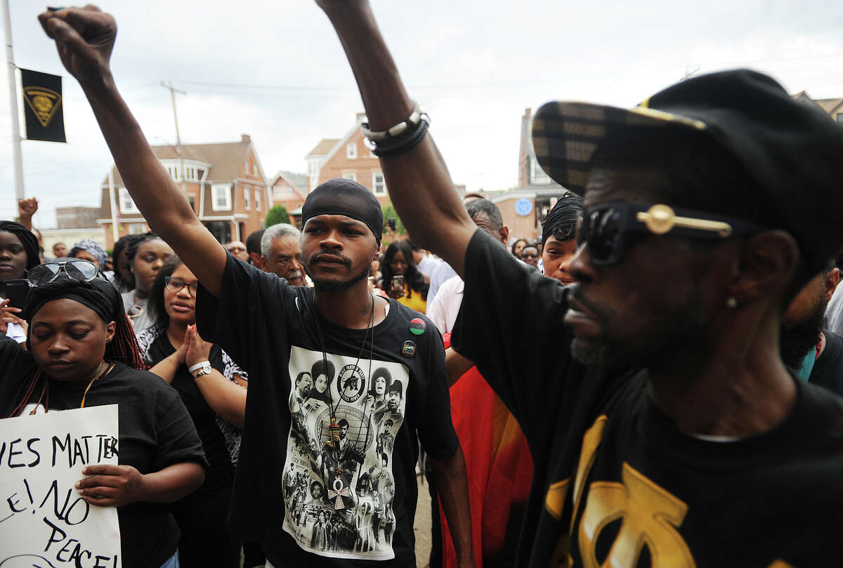 Black Lives Matter protest and march from Mount Aery Baptist Church to Bridgeport Police Headquarters in Bridgeport, Conn. on Sunday, July 10, 2016.