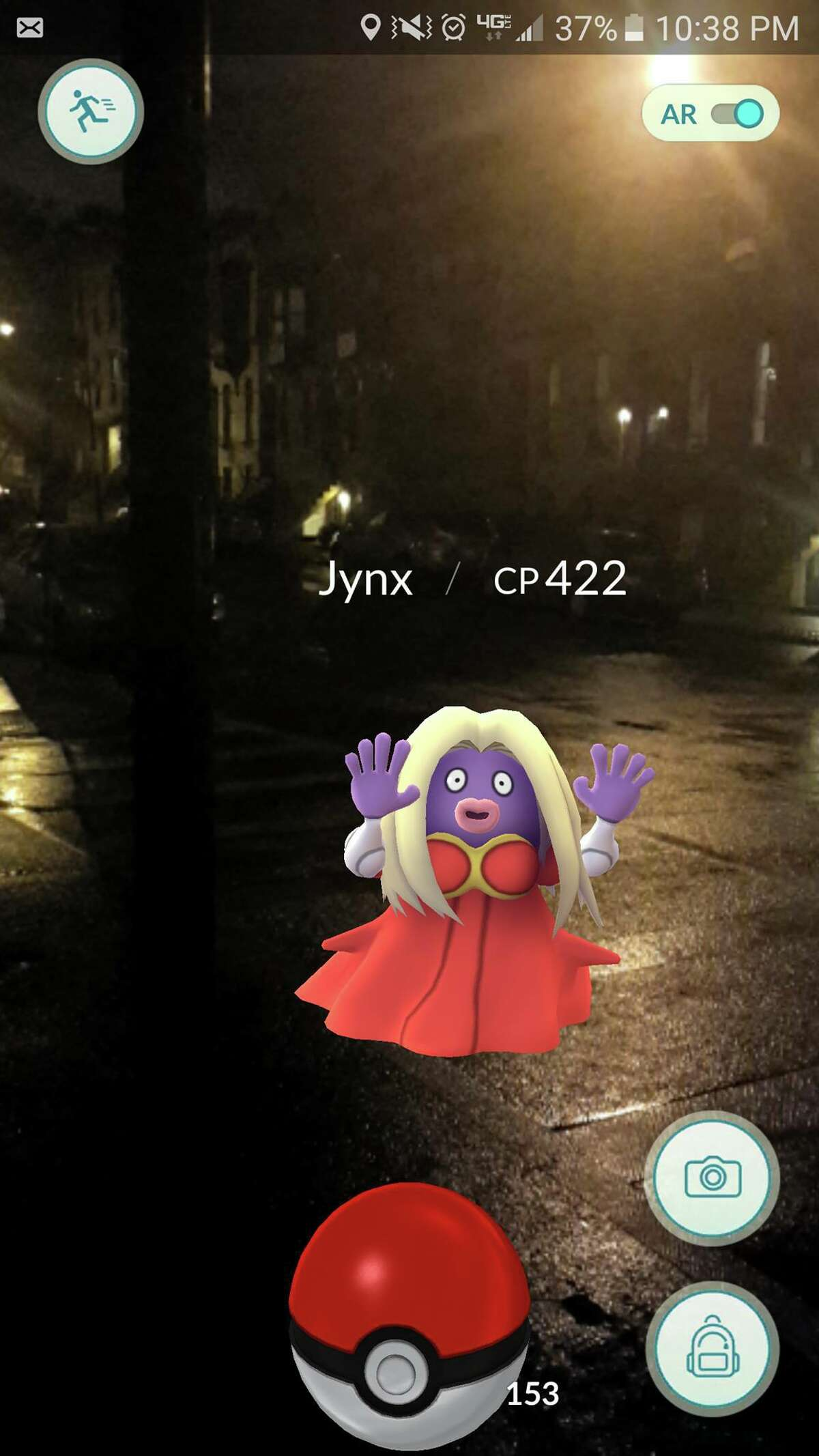 A digital Jynx on the streets of Albany. Pokemon Go layers gameplay onto the physical world. (Courtesy Photo).