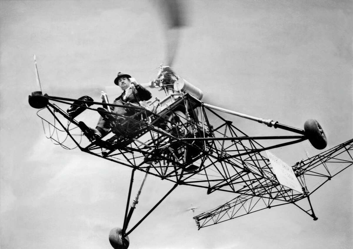 UNITED STATES - JUNE 01: The Russian inventor Igor SIKORSKY in June 1930 on his helicopter with which he broke the record for length of time spent in the air : one hour, 32 minutes and 30 seconds, in Bridgeport, Connecticut (United States).