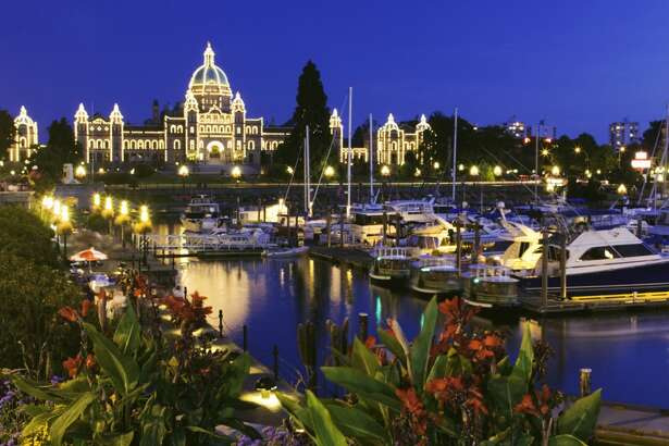 Canada, Victoria, B.C, harbor and Capitol Parliament Buildings, night
