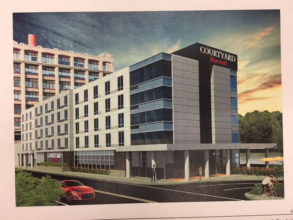This Artist S Rendering Depicts The Front Of Five Story Marriott Hotel Builders Are Proposing