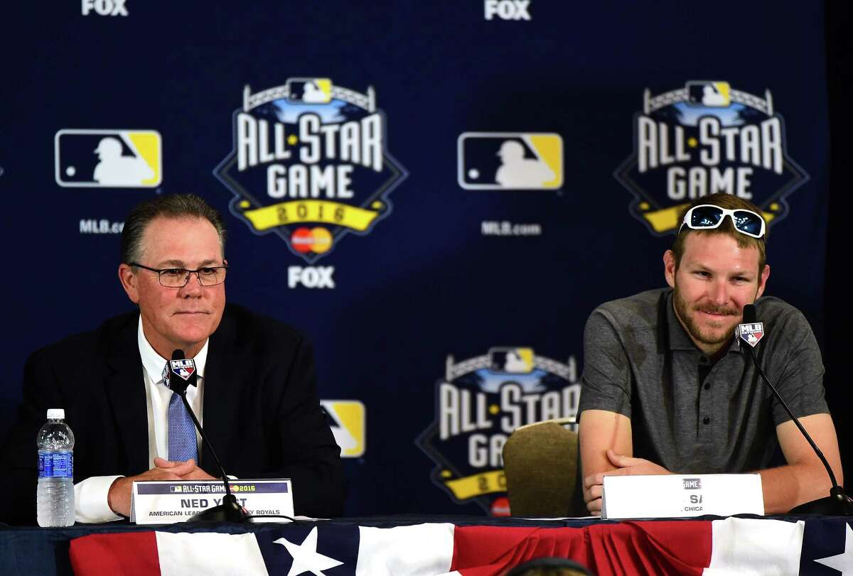 SAN DIEGO, CA - JULY 11: Manager Ned Yost of the Kansas City Royals and starting pitcher for the American League Chris Sale #49 of the Chicago White Sox speak to the media during Media Availability for the 87th Annual MLB All-Star game at the Manchester Grand Hyatt on July 11, 2016 in San Diego, California.
