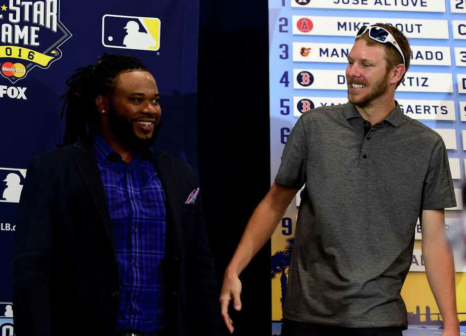 SAN DIEGO, CA - JULY 11:  2016 All Star game starting pitchers Johnny Cueto #47 of the San Francisco Giants and Chris Sale #49 of the Chicago White Sox smile during Media Availability for the 87th Annual MLB All-Star game at the Manchester Grand Hyatt on July 11, 2016 in San Diego, California. Photo: Harry How, Getty Images / 2016 Getty Images