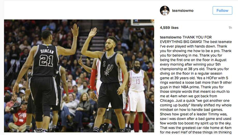 Players react to Tim Duncan's retirement Photo: INSTAGRAM
