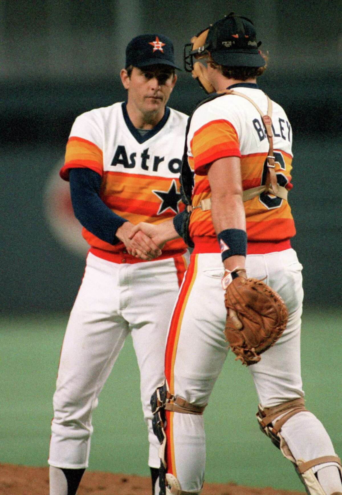 """Mike Acosta of Astros Authentics admits that he was a huge fan of Astros pitcher Nolan Ryan, right, while growing up. """"My world revolved around him."""""""