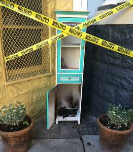 The Noe Street LFL (Little Free Library) is seen after an arson incident in this undated photo in San Francisco, Calif.