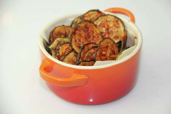 Baked barbecue zucchini chips are a snap to make.