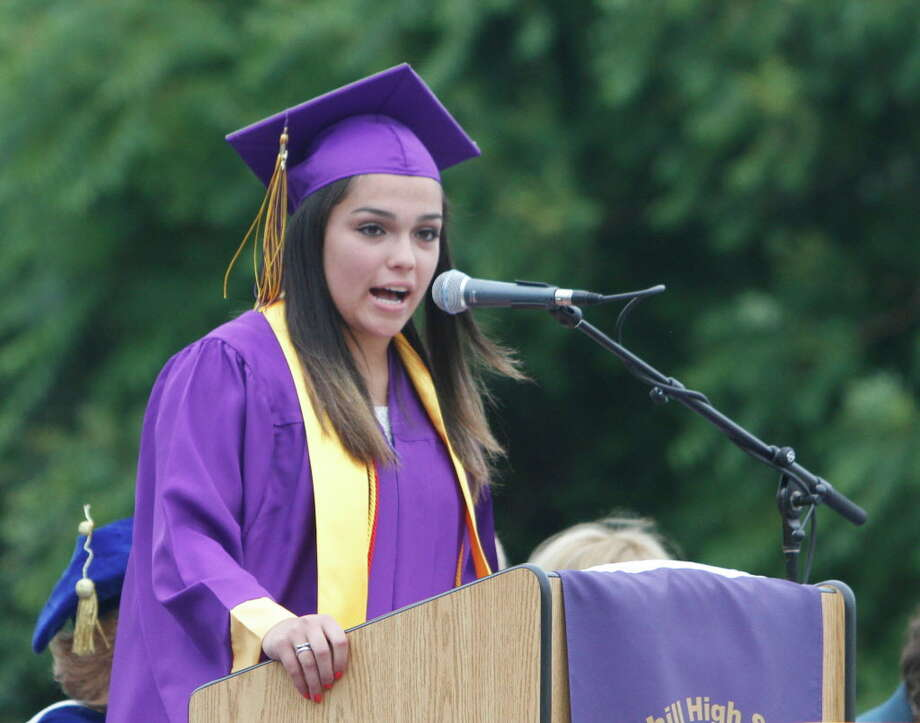 Kiana Nieves speaks during Westhill High School's 2015 graduation ceremony. The Matthew Gaffney Foundation has helped Nieves get nearly all of her college tuition covered by scholarships and grants. Photo: Matthew Brown / File Photo / Connecticut Post Freelance