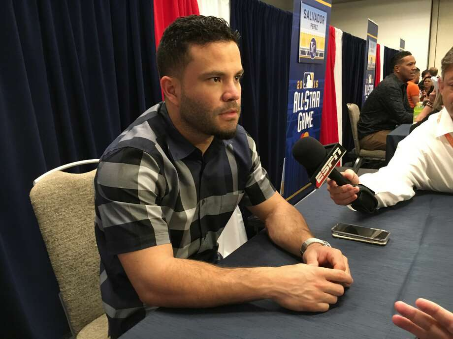 Houston Astros' second baseman Jose Altuve answers questions at the 2016 All-Star Game media availability Monday in San Diego. Photo: Jake Kaplan