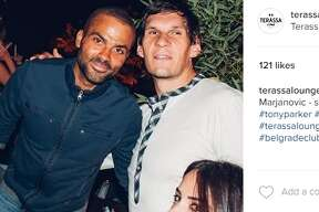 Boban Marjanovic spent his final days as a member of the San Antonio Spurs hanging out with Tony Parker at one of Serbia's trendiest spots.
