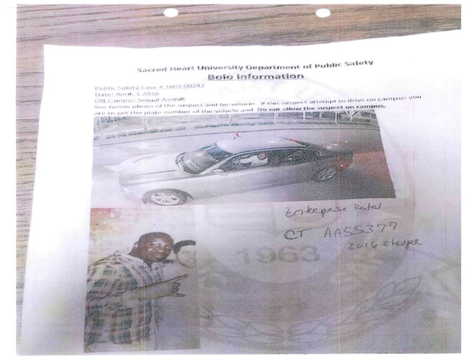 "In a lawsuit, Gary Douglas, claims on April 1, SHU's director of public safety, Paul Healy, issued this leaflet with the heading, ""Sacred Heart University Department of Public Safety Bolo Information, Off Campus Sexual Assault"" and a photograph of Douglas and his car."