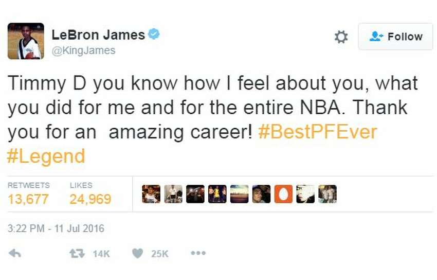 @KingJames: Timmy D you know how I feel about you, what you did for me and for the entire NBA. Thank you for an amazing career! #BestPFEver #Legend