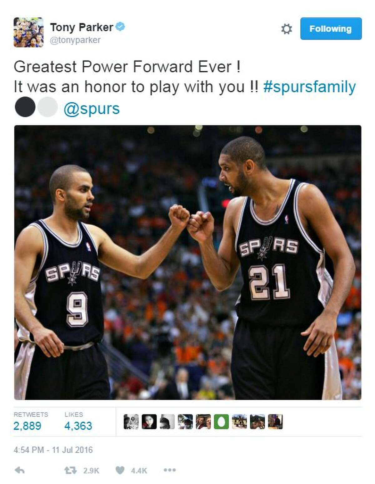 @tonyparker: Greatest Power Forward Ever ! It was an honor to play with you !! #spursfamily @spurs