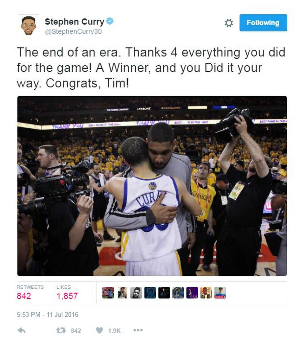 @StephenCurry30: The end of an era. Thanks 4 everything you did for the game! A Winner, and you Did it your way. Congrats, Tim!