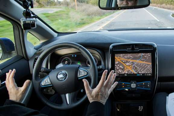 FILE -- A test ride in a prototype of an autonomous Nissan car, in Sunnyvale, Calif., Jan. 7, 2016. The death of a Florida man who investigators say was killed while driving a Tesla Model S in its autopilot mode is a reminder that self-driving car technology is still very much a work in progress. Federal regulators have opened a formal investigation into the incident. (Elizabeth D. Herman/The New York Times)