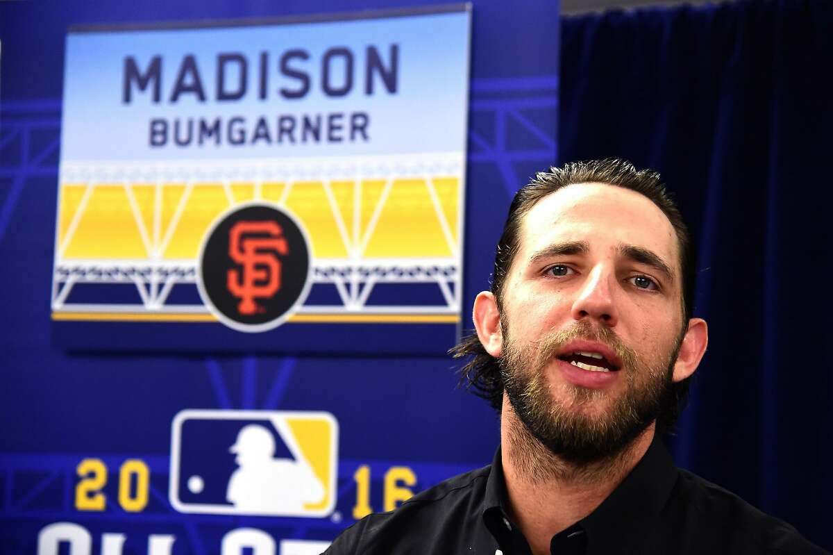 Madison Bumgarner #40 of the San Francisco Giants speaks to the press during Media Availability for the 87th Annual MLB All-Star game at the Manchester Grand Hyatt on July 11, 2016 in San Diego, California.