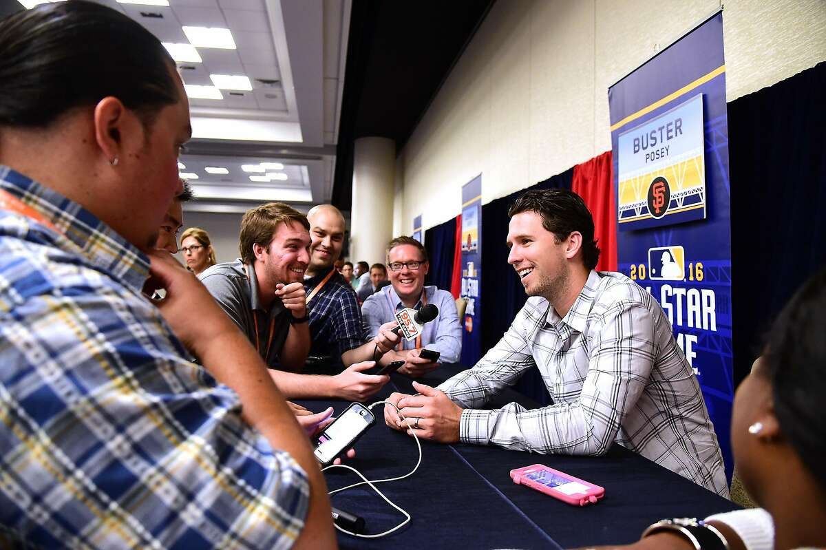 Buster Posey #28 of the San Francisco Giants speaks to the press during Media Availability for the 87th Annual MLB All-Star game at the Manchester Grand Hyatt on July 11, 2016 in San Diego, California.