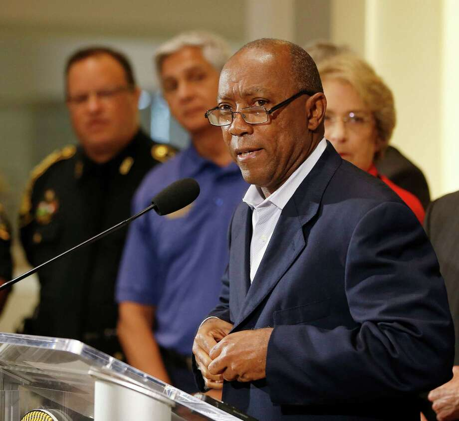 Mayor Sylvester Turner addresses the media with acting Houston Police Chief Martha Montalvo at City Hall, Friday, July 8, 2016, in Houston, as more Black Lives Matter protests are planned in the city, he called for calm.  ( Karen Warren  / Houston Chronicle ) Photo: Karen Warren, Staff / © 2016 Houston Chronicle