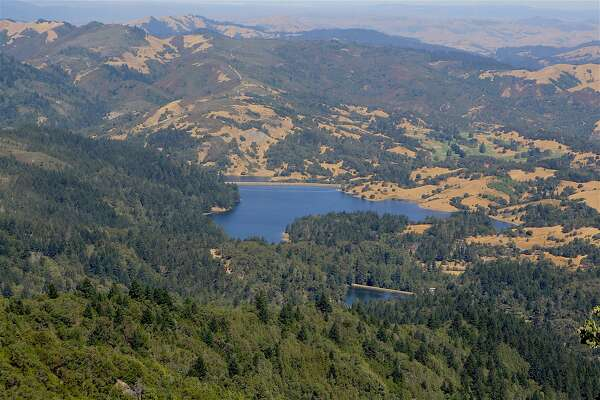 On the short walk to the East Peak, Mount Tamalpais, you get a view to the north that overlooks the Marin Watershed, with Bon Tempe Lake the centerpiece, small Lagunitas Lake just above it, and the headwaters of Alpine Lake just below it