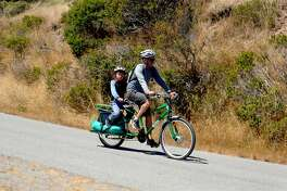 Father &son bike the 5-mile Perimeter Road at Angel Island State Park, the most popular bike trail in the Bay Area