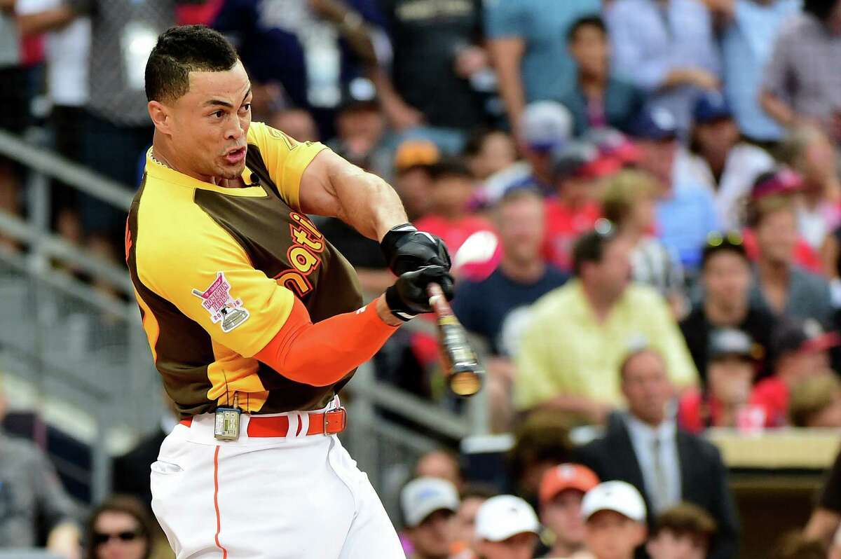 SAN DIEGO, CA - JULY 11: Giancarlo Stanton of the Miami Marlins competes during the T-Mobile Home Run Derby at PETCO Park on July 11, 2016 in San Diego, California.