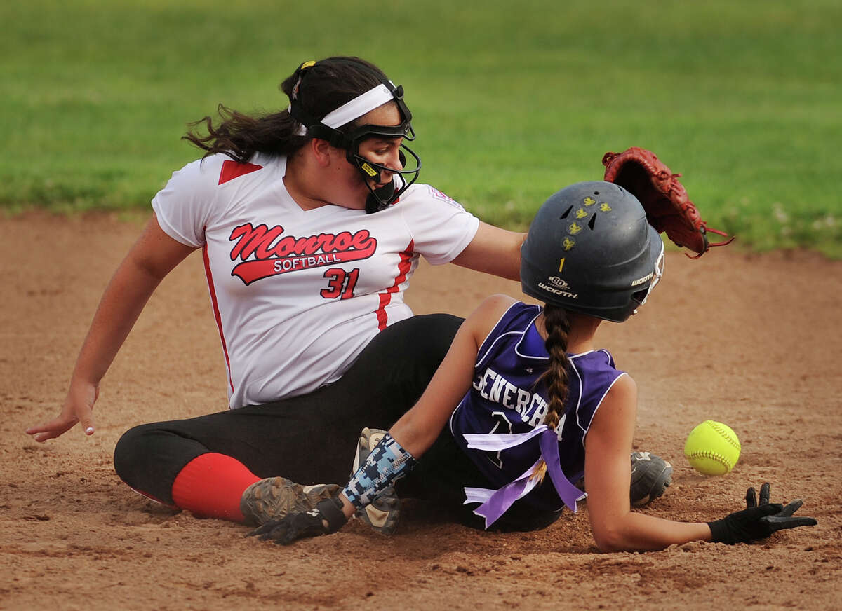 North Branford's Hannah Senerchia steals second base as the throw to gets past Monroe second baseman in the third inning of their 3-0 victory in the Section 1 Little League softball championship game at Unity Park in Trumbull on Monday.