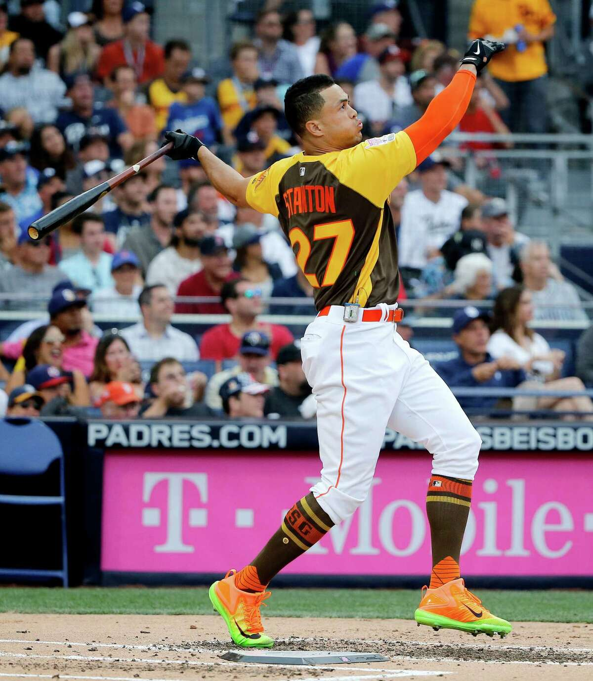 Marlins slugger Giancarlo Stanton finished with a record 61 home runs on his way to winning the All-Star Home Run Derby on Monday night in San Diego.