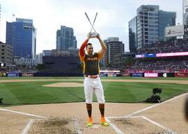 Miami Marlins' Giancarlo Stanton wins the All-Star Home Run Derby at Petco Park in San Diego on Monday, July 11, 2016. (K.C. Alfred/San Diego Union-Tribune/TNS)