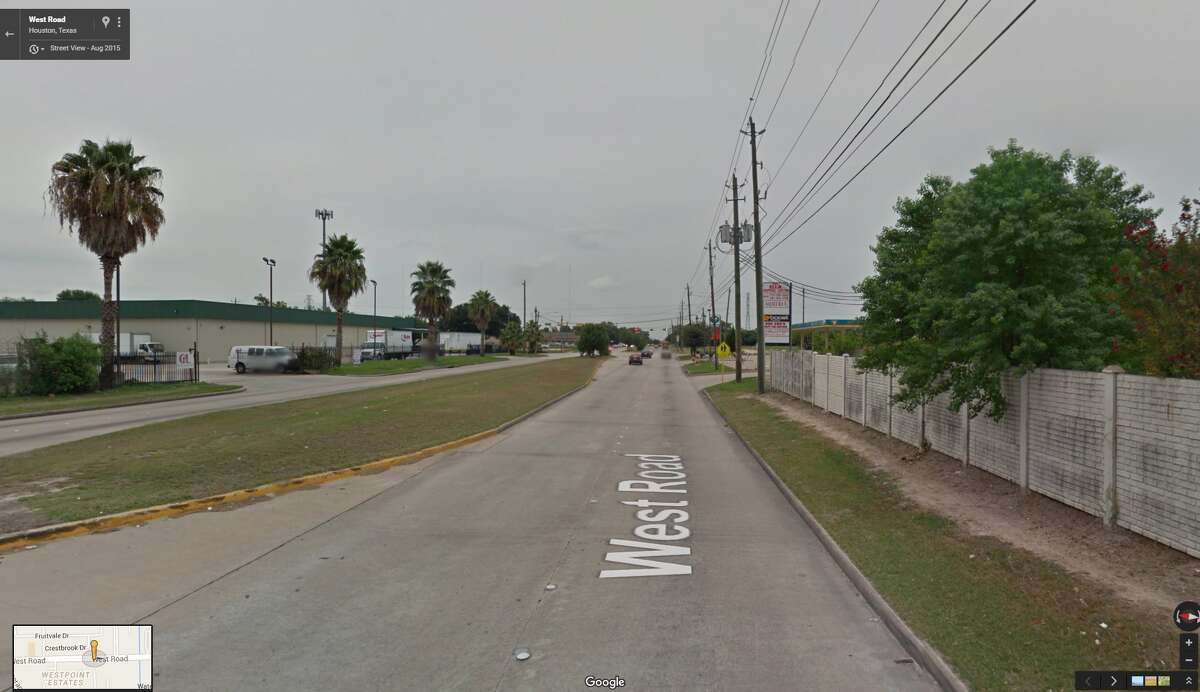 A screenshot of a Google Street View image of West Road near Ella Boulevard in north Harris County. In the early morning hours of July 12, 2016, a woman died following a hit-and-run collision in the area.