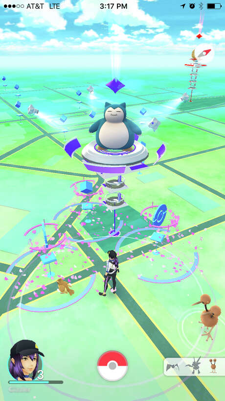 Users can travel to locations around town to train their Pokemon and battle other users. Screenshot via Pokemon Go.