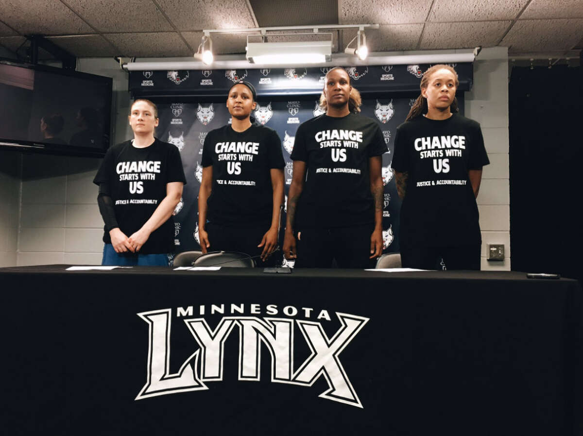 Minnesota Lynx players Lindsay Whalen, Maya Moore, Rebekkah Brunson and Seimone Augustus wore shirts speaking out against the recent violence both from and against police. The gesture led to Minneapolis police walking from their jobs as game security.