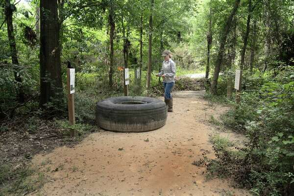 Stephanie Prosser, interim executive director of the Bayou Land Conservancy, logs a tire that was washed onto one of the trails during the May floods at Spring Creek Greenway Nature Center, 1300 Riley Fuzzel Road.