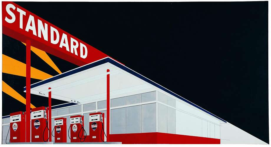 "Ed Ruscha, ""Standard Station, Amarillo, Texas"" (1963). Oil on canvas. Photo: Hood Museum Of Art, Dartmouth College. � Ed Ruscha"