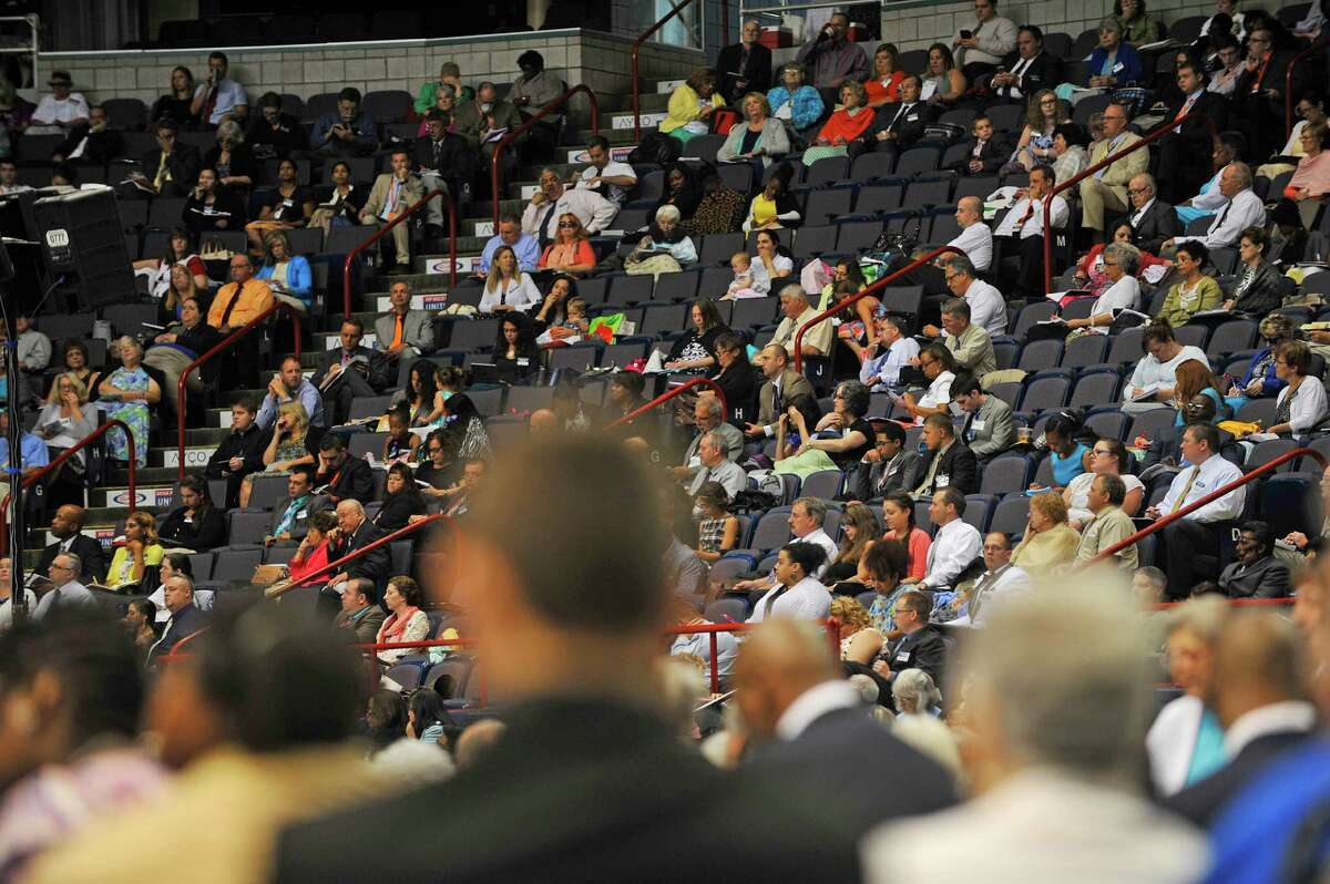 Members of Jehovah's Witnesses congregations from the region attend the Remain Loyal to Jehovah, Regional JehovahOs Witnesses Convention at the Times Union Center on Sunday, July 10, 2016, in Albany, N.Y. Hans Hollis, regional media contact for the Convention, said that this yearOs convention message is how to strengthen resolve to be loyal to what you believe. OThroughout the weekend there are talks based on specific examples taken out of the Bible to highlight people who had the resolve to do what is right under difficult circumstancesO, Hollis said. Hundreds of volunteers put on the convention and this year there are 39 video presentations and 2 movies shown during the convention. The convention was held Friday through Sunday for members of half of the regional congregations and next Friday anther convention begins running through Sunday for the members of the other roughly 40 congregations. The public is welcome to attend the convention which runs from 9:20am to 5:00pm each day. about 4,000 Jehovah Witnesses attended this weekendOs convention. OThis is the first time in 20 years weOve held the convention in Albany, we have an assembly hall in Newburgh but we outgrew it for our conventionO, Hollis said. On Saturday 20 new members took part in a full immersion baptism ceremony and the baptisms will take place again on Saturday. (Paul Buckowski / Times Union)